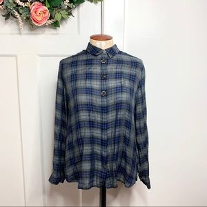 Ann Taylor LOFT Plaid Gemstone Embellished Top